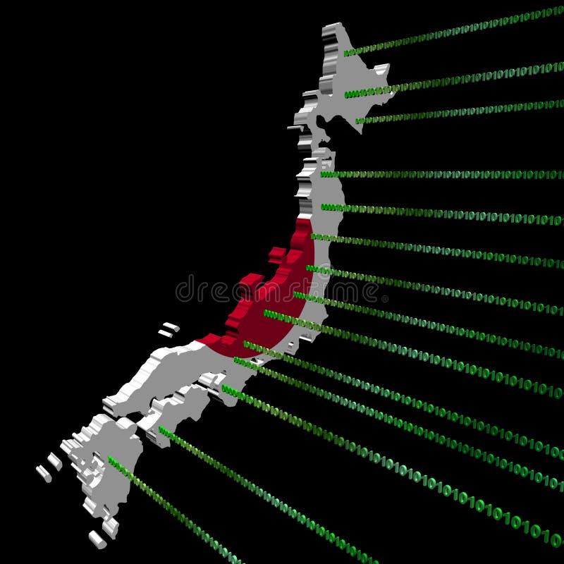 binarnego kodu flaga Japan mapa royalty ilustracja