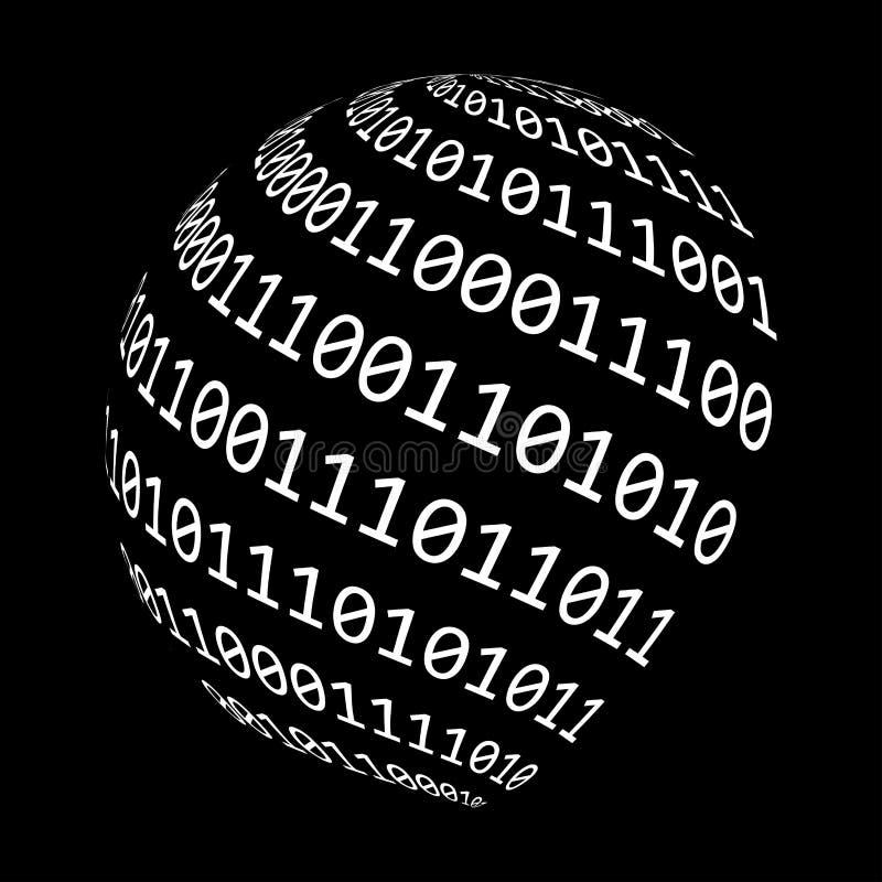 Binarnego kodu kuli ziemskiej symbolu ikony wektorowy projekt royalty ilustracja