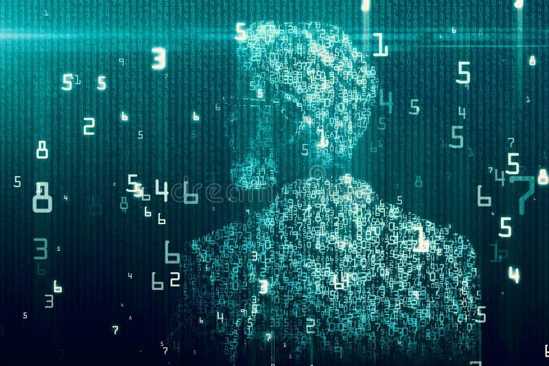 Binarnego kodu mężczyzna tło ilustracji