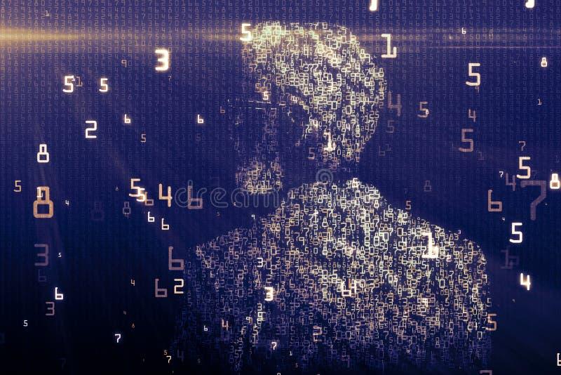 Binarnego kodu mężczyzna tło royalty ilustracja