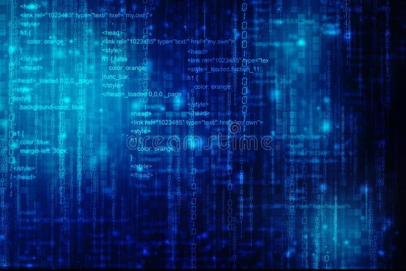Binarnego kodu tło, Cyfrowej technologii Abstrakcjonistyczny tło ilustracja wektor