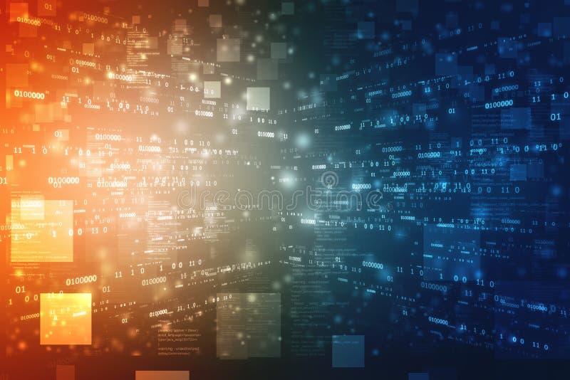 Binarnego kodu tło, Cyfrowej technologii Abstrakcjonistyczny tło ilustracji