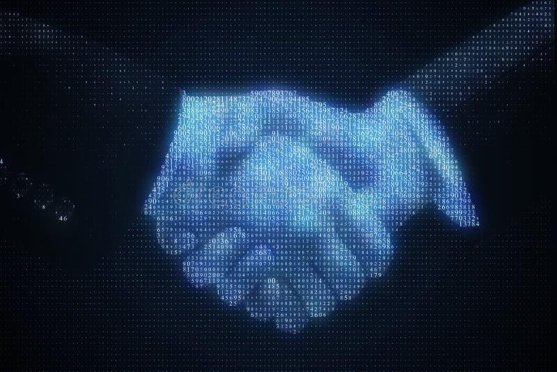 Binarnego kodu uścisk dłoni royalty ilustracja
