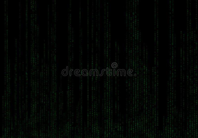 Binarnego kodu zieleni i czerni tło z cyframi royalty ilustracja