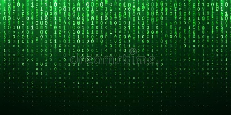 Binarni matrycy 1 (0) kawałki zielenieją abstrakcjonistycznego tło ilustracja wektor