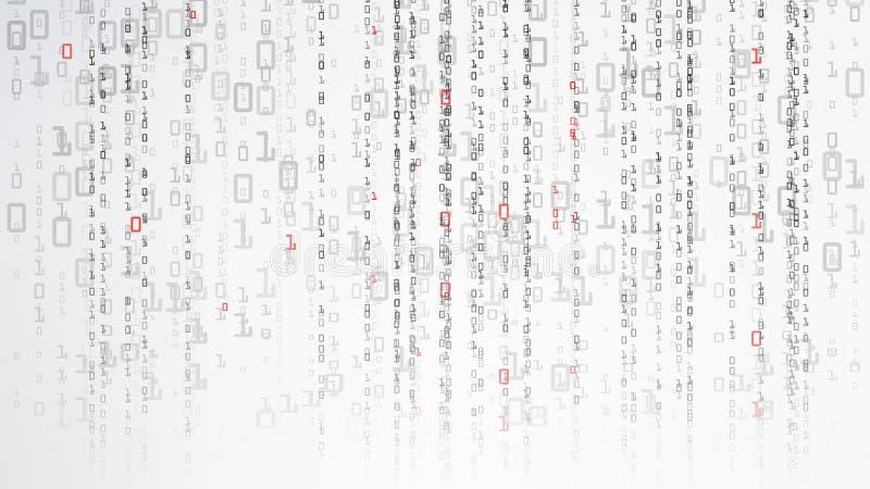 Binarny cyberprzestrzeni tło Cyfrowania lub hackera pojęcie Matryca styl również zwrócić corel ilustracji wektora royalty ilustracja