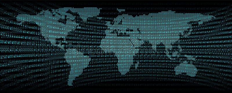 Binarny cyfrowy komunikacyjnego kodu abstrakta tło , symbol i sygnał technologii sieci programowanie z światową mapą , royalty ilustracja