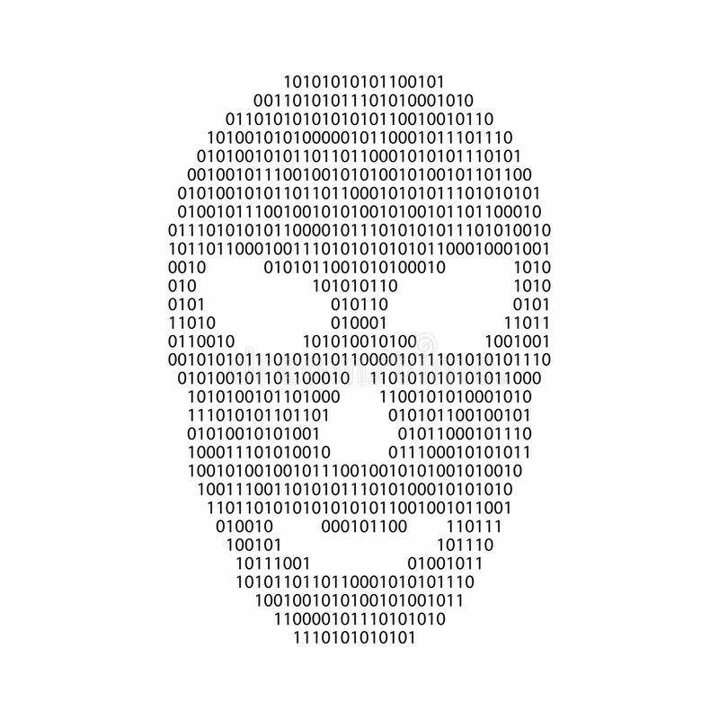 Binarny kod w hacker twarzy kształcie Malware i wirusowy ostrzegawczy pojęcie ilustracji