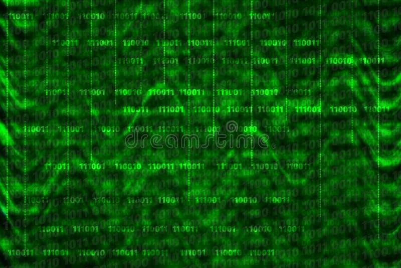 Binarny komputerowy kod na abstrakcjonistycznym tle z falami ilustracja wektor