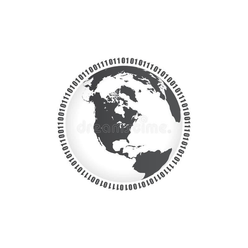 Binarny okrąg, cyfry, jeden i zero na całym świecie Wektorowa ilustracja odizolowywająca na biały tle ilustracja wektor