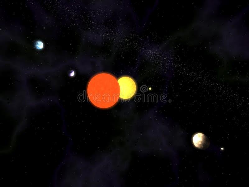 binarny słoneczny gwiazdowy system ilustracja wektor
