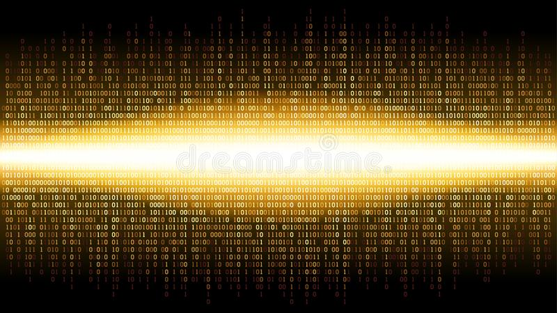 Binary abstract background with bright radiance in the digital space, glowing cloud of big data, stream of information. Well organized layers vector illustration