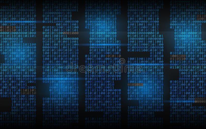 Binary background. Abstract streaming code. Matrix digits on dark backdrop. Blue columns with lights. Hacked concept royalty free illustration
