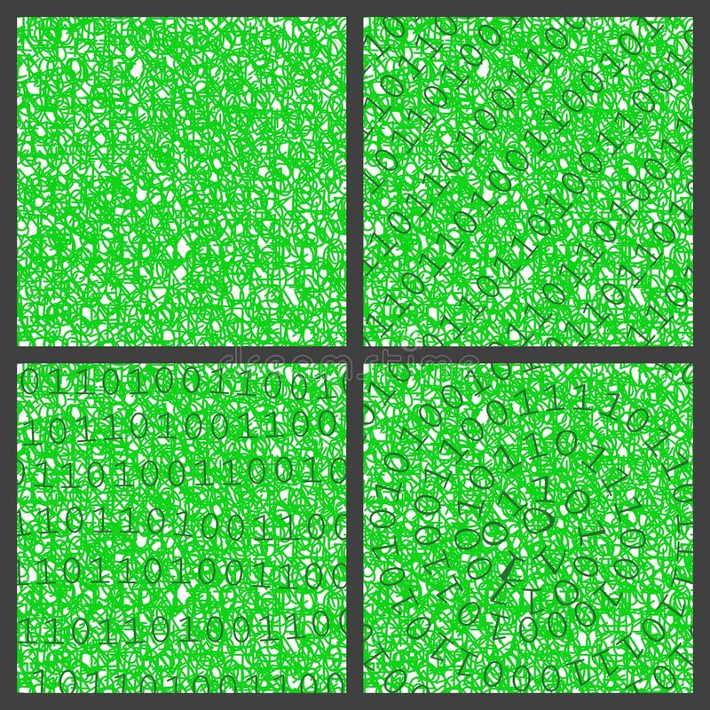 Binary backgrounds. Four green backgrounds collage with sequences of binary number zero and one stock illustration