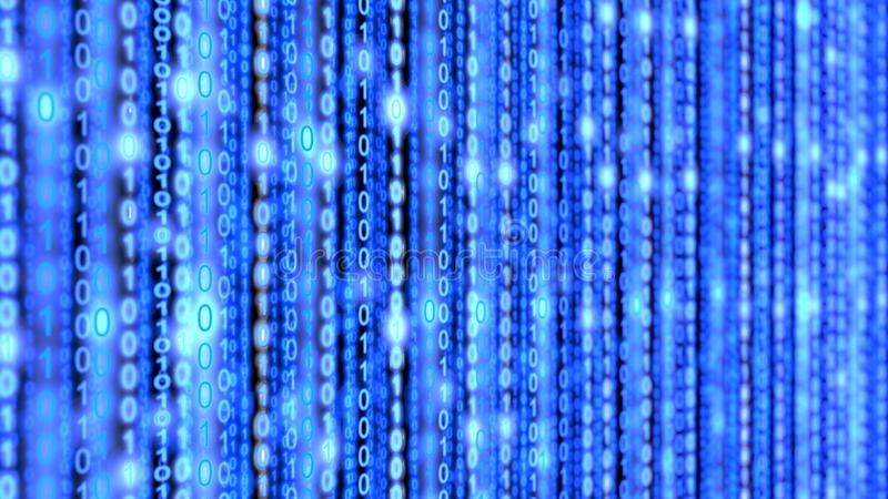 Binary blue datastream matrix background. Fading into blur stock photo
