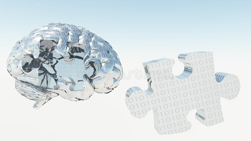 Binary Brain Puzzle vector illustration
