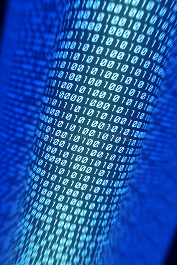 Binary code. Data stream, computer rendering royalty free stock photos