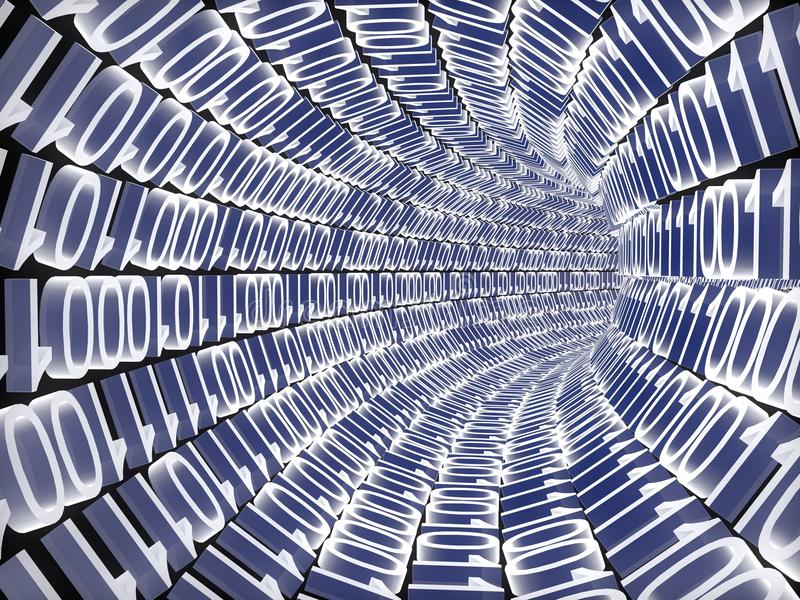 Binary code. A binary tunnel concept. Computer render royalty free illustration