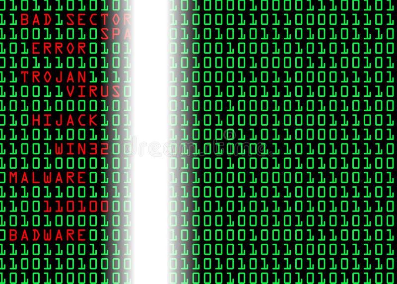 Binary Code. In registry with errors and virus repair stock illustration
