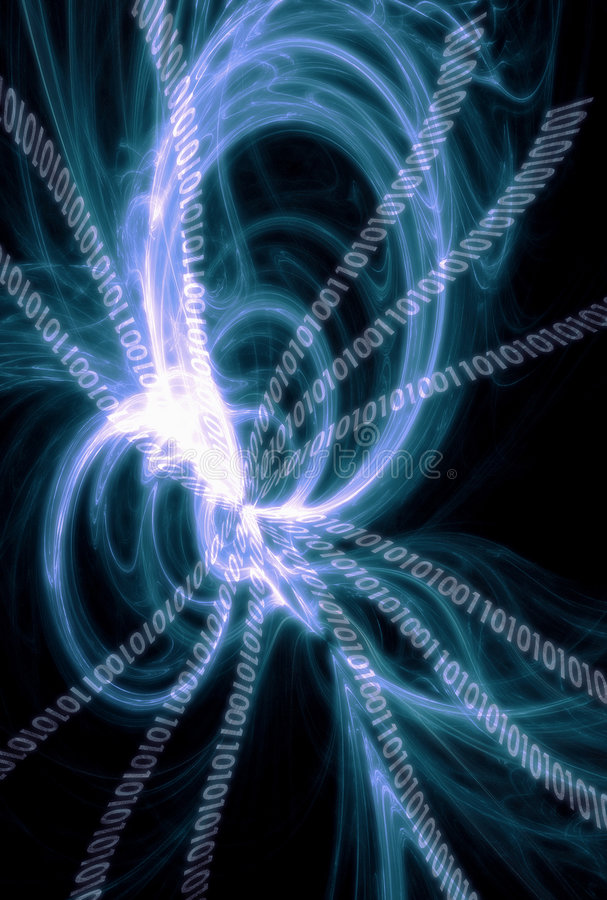 Binary Code. Technology Background: Swirl Binary code stock photo