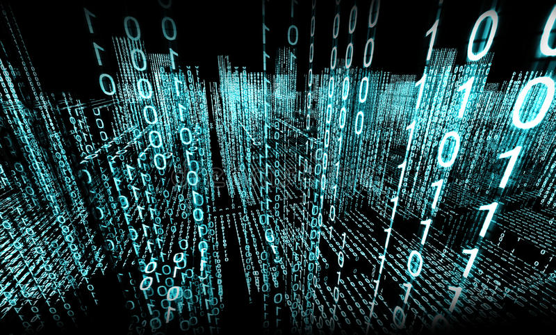 Binary code. Abstract 3d background,Binary Language stock illustration