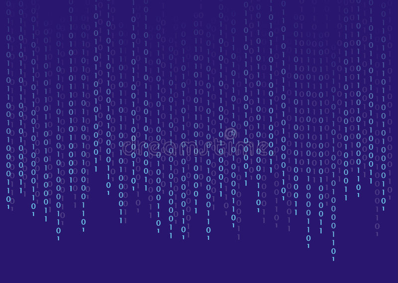Binary code. Light blue numbers on blue background royalty free illustration
