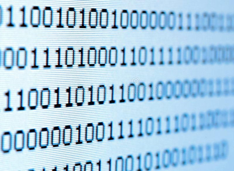 Binary code. From a computer screen stock images