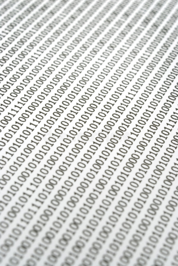 Binary Code Abstract. Closeup abstract image of binary code numerals stock photography