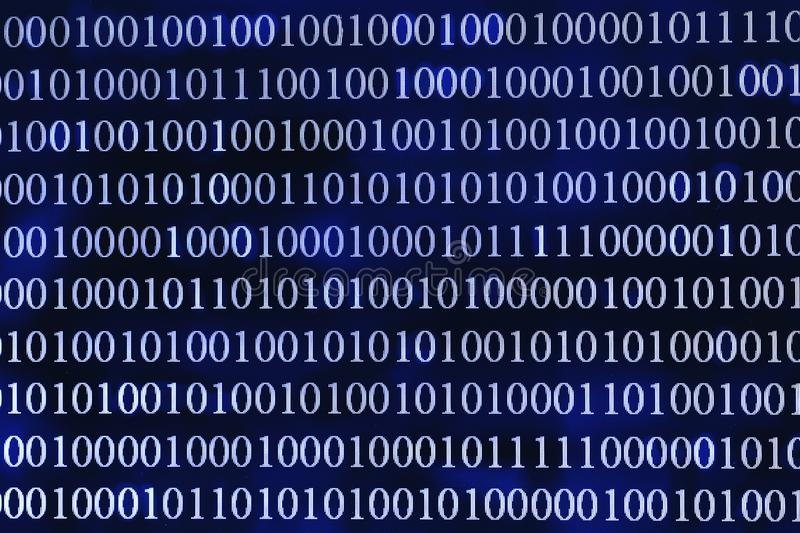 Binary code abstract background. Modern Technology internet communication and network data. Blue toned stock image