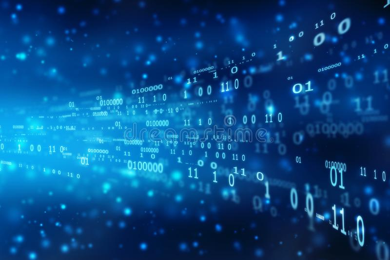 Binary Code Background, flowing number one and zero text in binary code format in technology background royalty free stock image