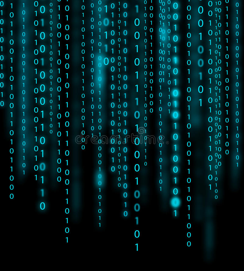Binary code background. Abstract blue binary code background stock photo