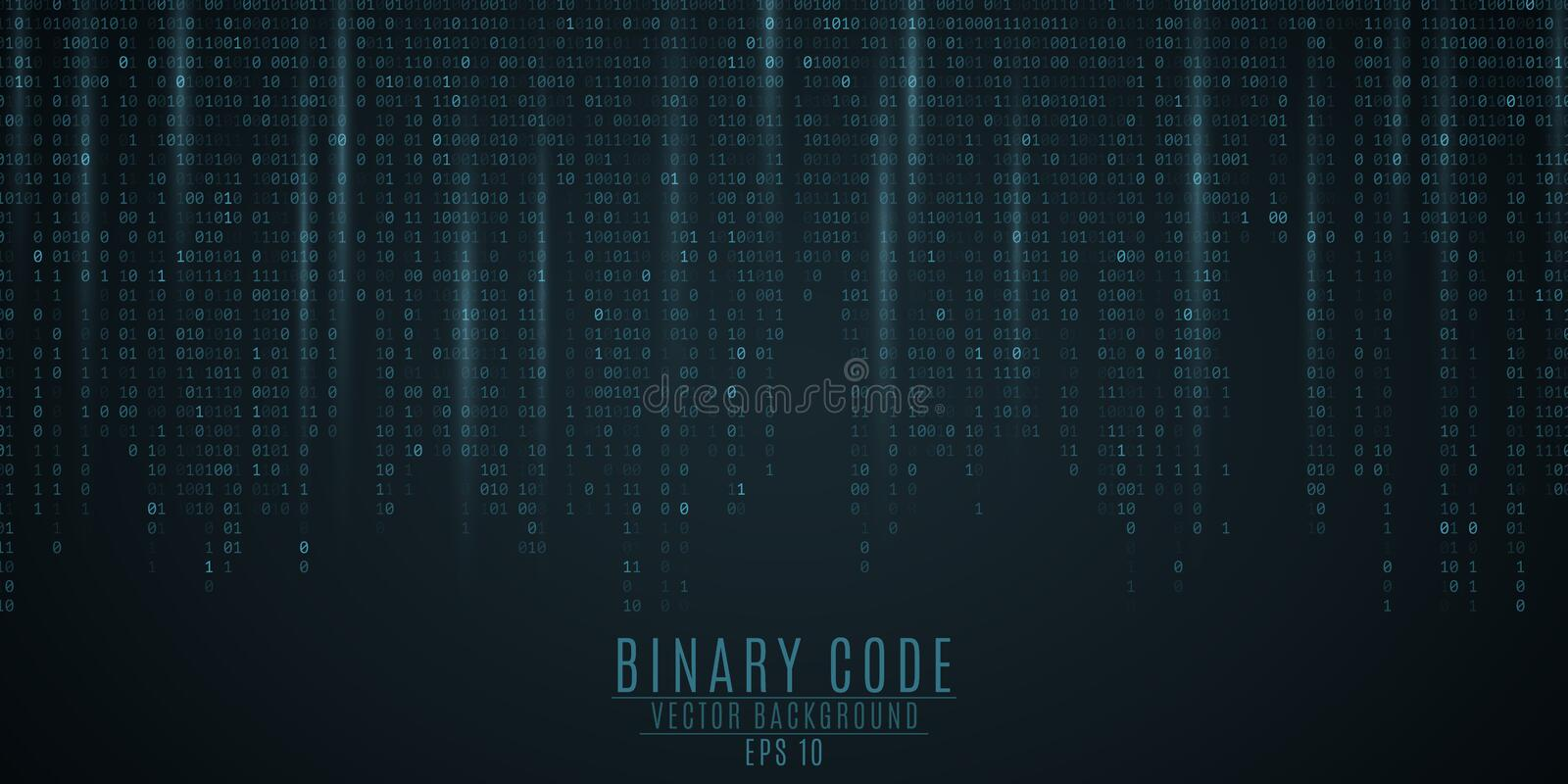 Binary code background. Blue glow. Falling figures. Blurring of figures in motion. Global network. High technologies, programming, vector illustration