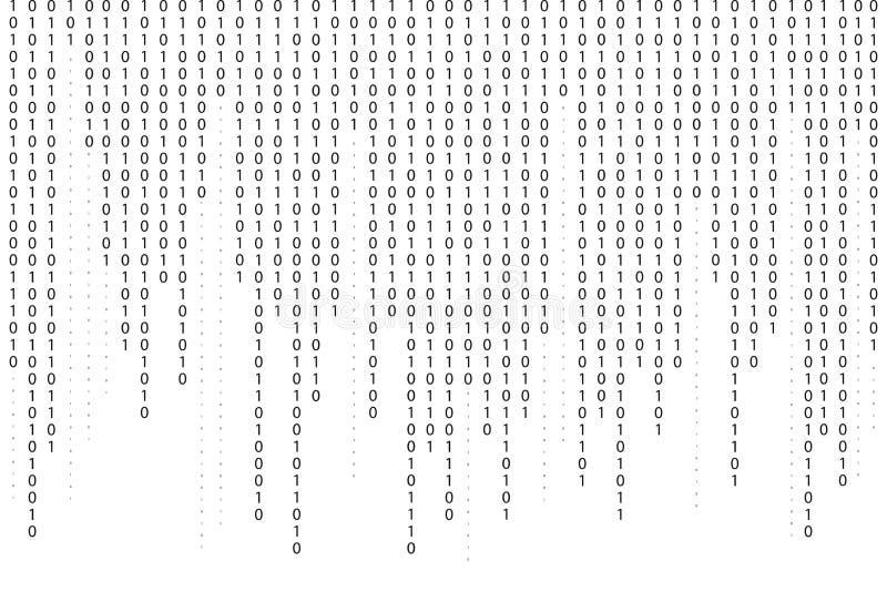 Binary code background. Falling, streaming binary code background. Digital technology wallpaper vector illustration