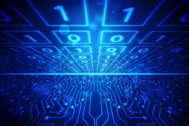 Binary Code Background,flowing number one and zero text in binary code format in technology background stock illustration
