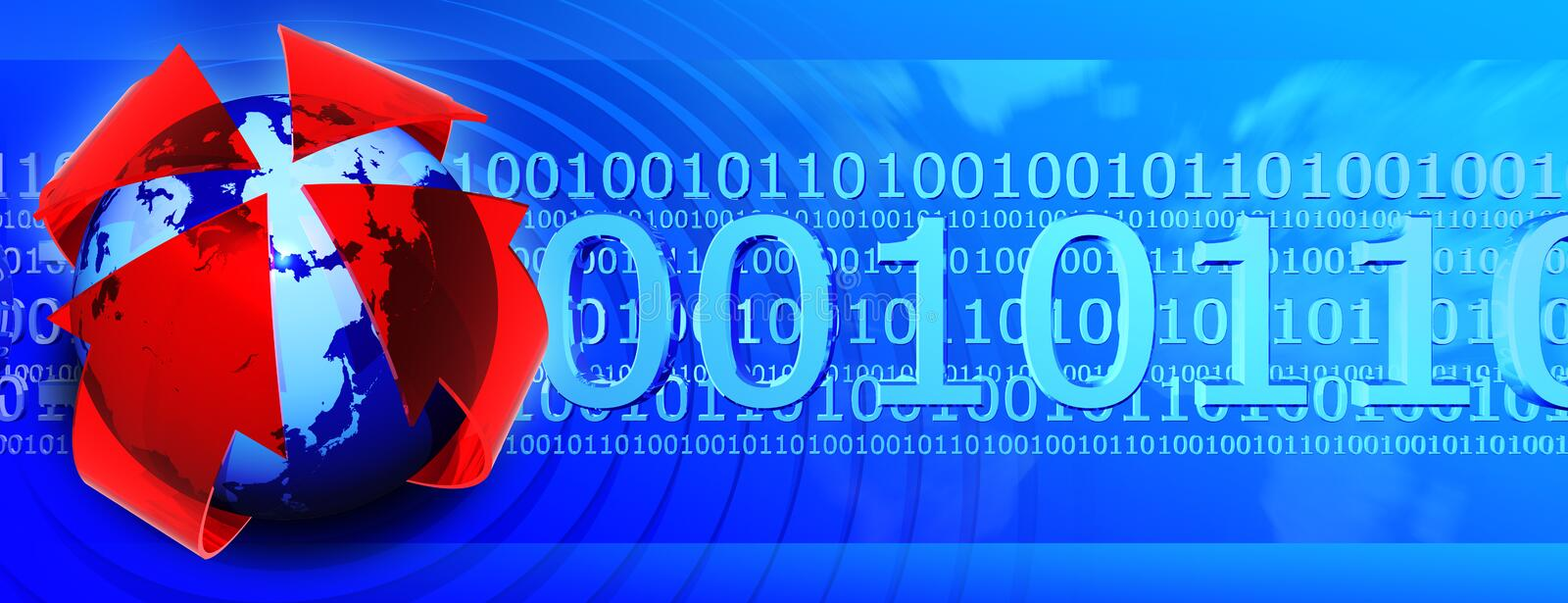 Binary code banner. Presentation banner with globe and binary code 0101, check my other renders and make sure your content filter is OFF stock illustration
