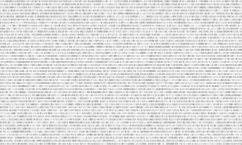 Binary code black and white background with two binary digits, 0 and 1 on a white background. Algorithm Binary Data Code,. Decryption and Encoding. Vector royalty free illustration