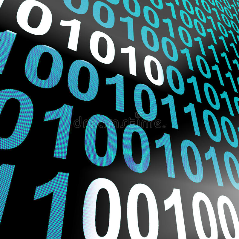 Binary Code On Computer Screen Showing Technology And Computing. Binary Code On Computer Screen Shows Technology And Computing stock illustration