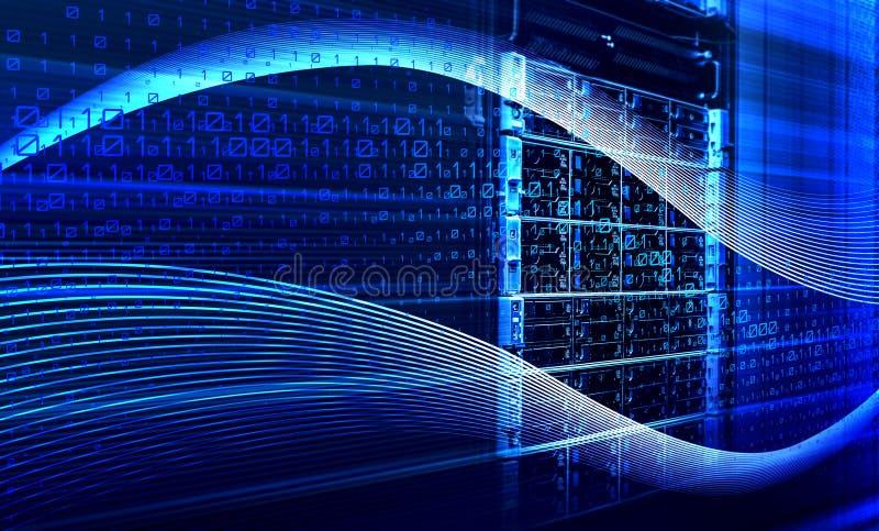 Binary code data flow inside server 3D rendering vector illustration
