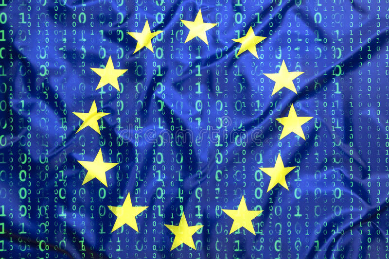 Binary code with European Union flag stock photo