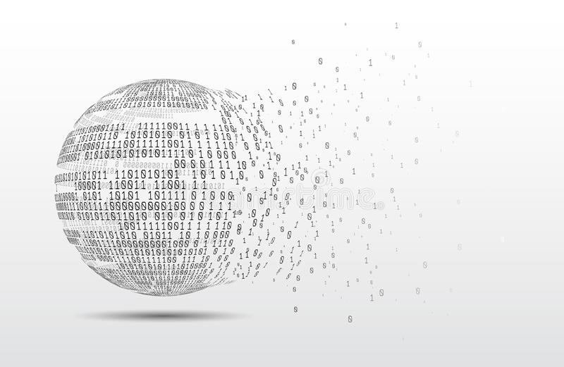 Binary code globe. Technology planet. Big data. Global network. Artificial intelligence. From chaos to system royalty free stock photos