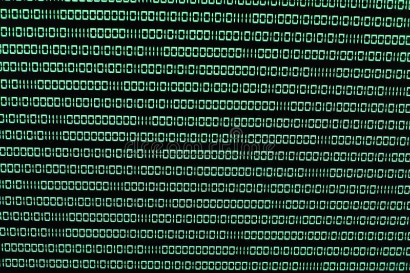 Binary Code in Green on TFT with virus in it royalty free stock photos