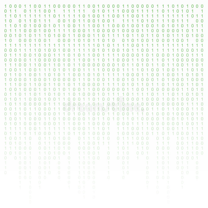 Binary code green and white background with digits on screen. Algorithm , data , decryption encoding, row matrix. Binary code green and white background with vector illustration