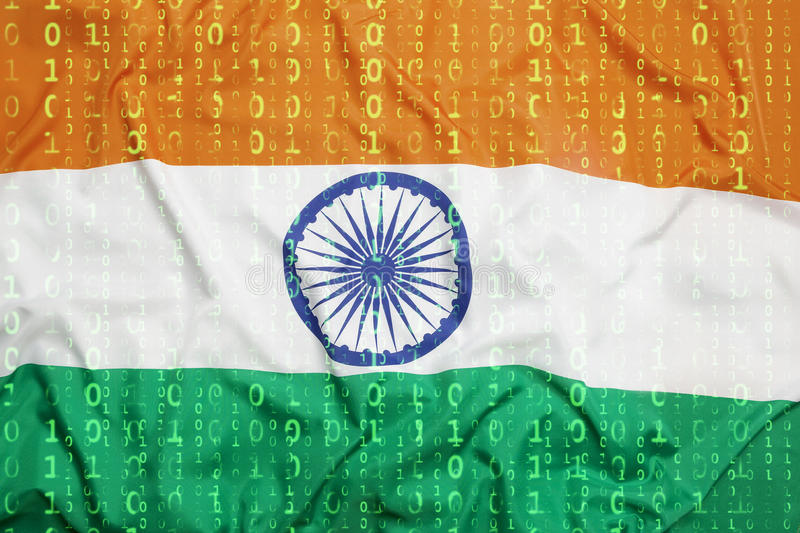 Binary code with India flag, data protection concept. Data protection, binary code with India flag stock photo