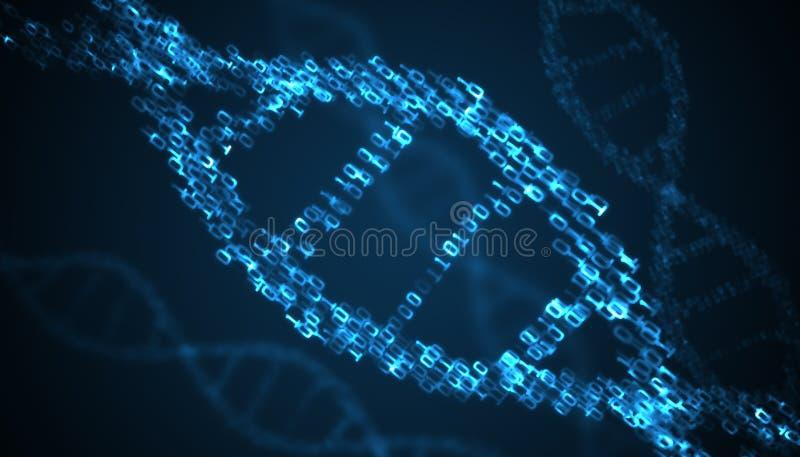 Binary code inside DNA helix. 3D rendered illustration vector illustration