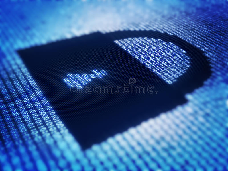 Binary code and lock shape on pixellated screen. Binary code and lock on detail pixellated screen - 3d render with selective focus royalty free stock image