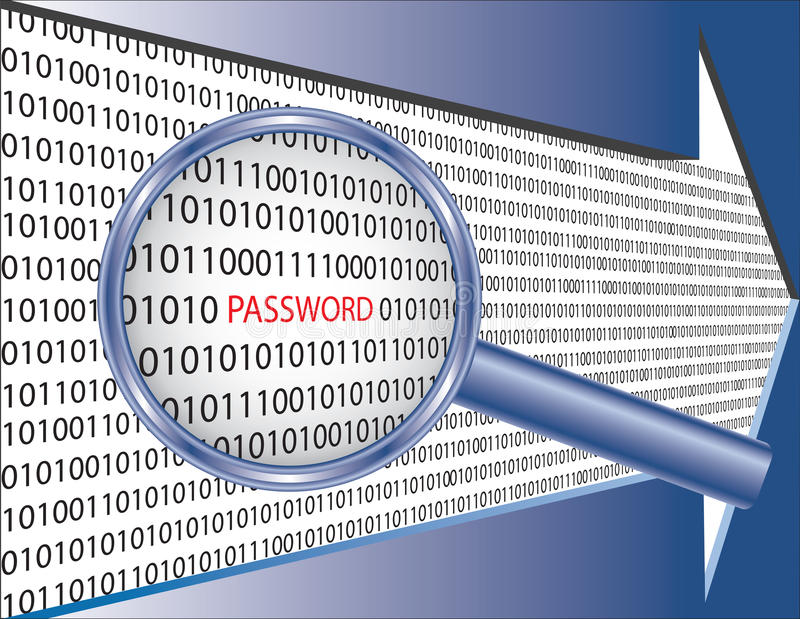 Binary code and password under magnifier glass stock illustration