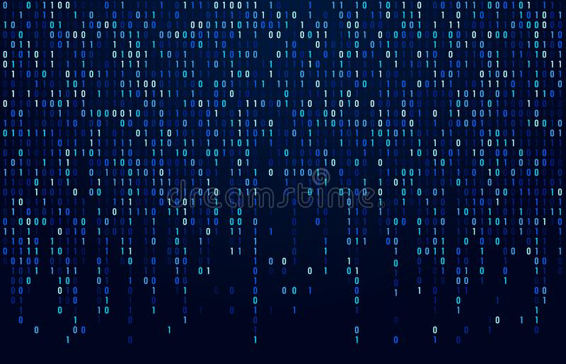 Binary code stream. Digital data codes, hacker coding and crypto matrix numbers flow. Digitally blue screen abstract stock illustration