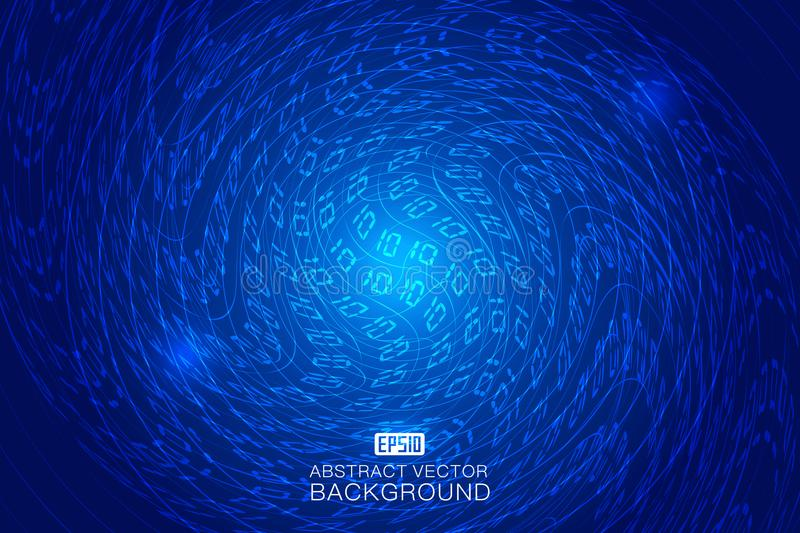 01 binary code, twisted perspective space technology abstract background stock illustration