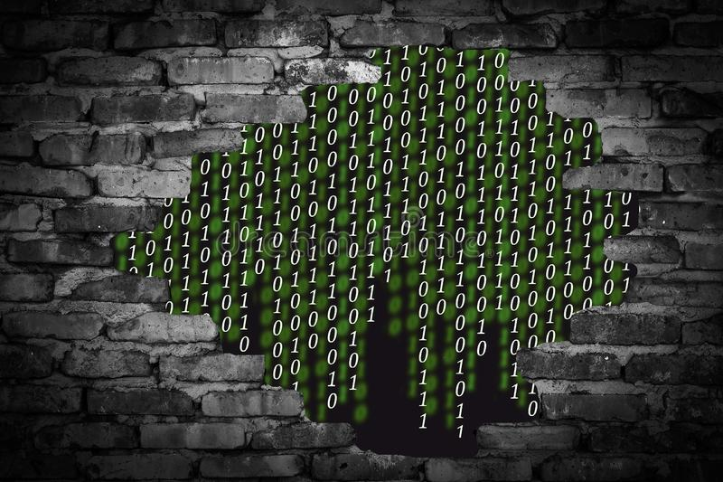 Binary code in the wall breach. On a black background stock photography