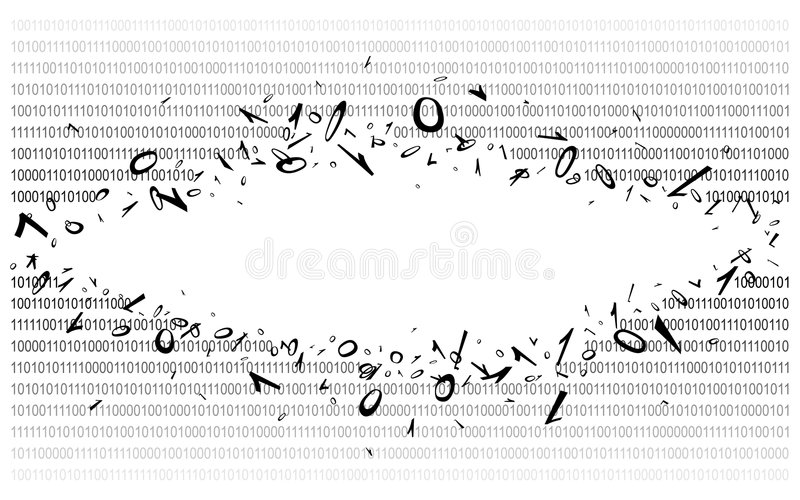 Binary code on white v2. Breakthrough into binary code on white. Background. Illustration. Vector EPS-10